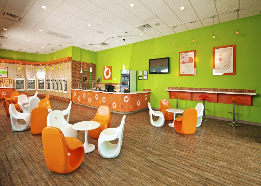 Orange Leaf Frozen Yogurt store inside