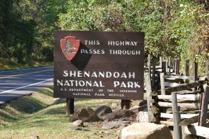Shenandoah National Park Sign