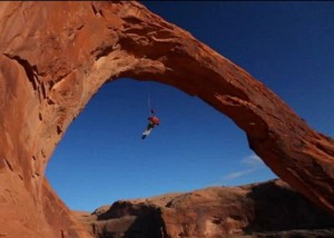 Ridiculous rope swing, Corona Arch, Moab, Utah