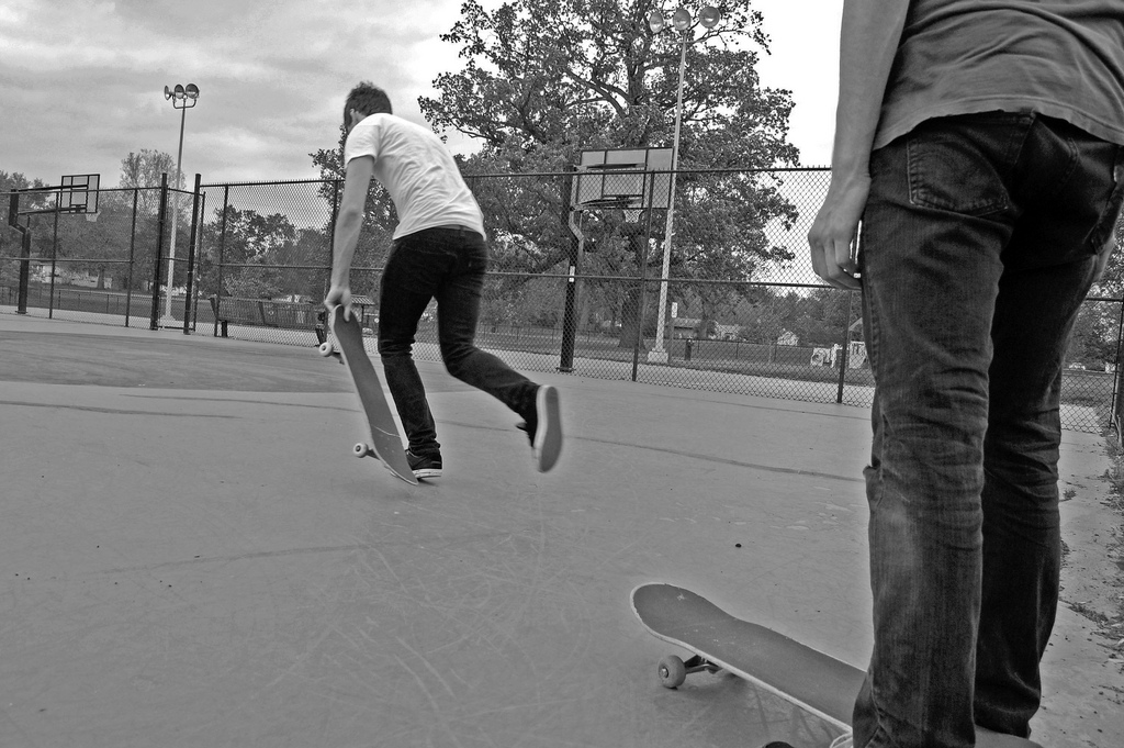 Skateboarding black and white