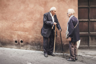 Older people talking on the street