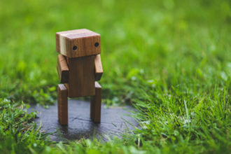 Wooden Robot in Nature